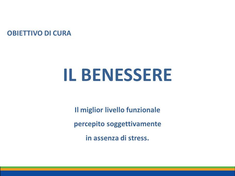 IL BENESSERE Il miglior livello funzionale percepito soggettivamente in assenza di stress. OBIETTIVO DI CURA