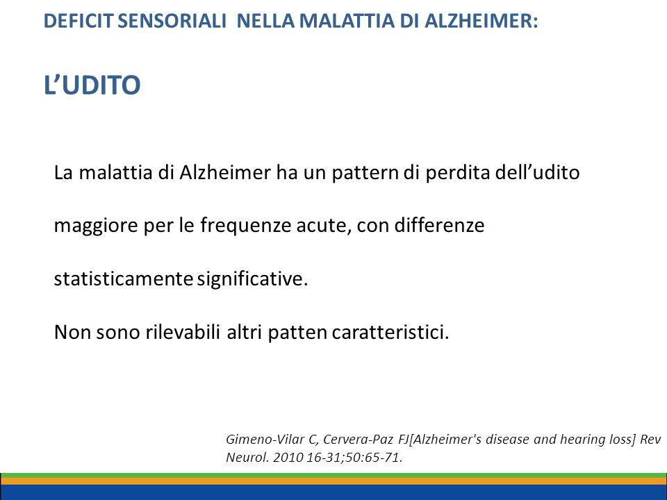 DEFICIT SENSORIALI NELLA MALATTIA DI ALZHEIMER: L'UDITO La malattia di Alzheimer ha un pattern di perdita dell'udito maggiore per le frequenze acute,