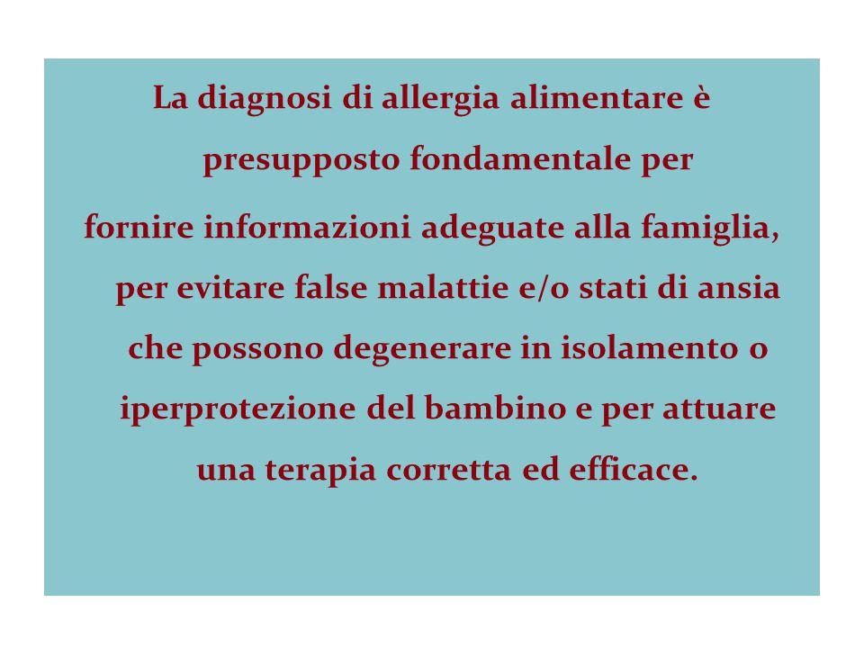La diagnosi di allergia alimentare è presupposto fondamentale per fornire informazioni adeguate alla famiglia, per evitare false malattie e/o stati di