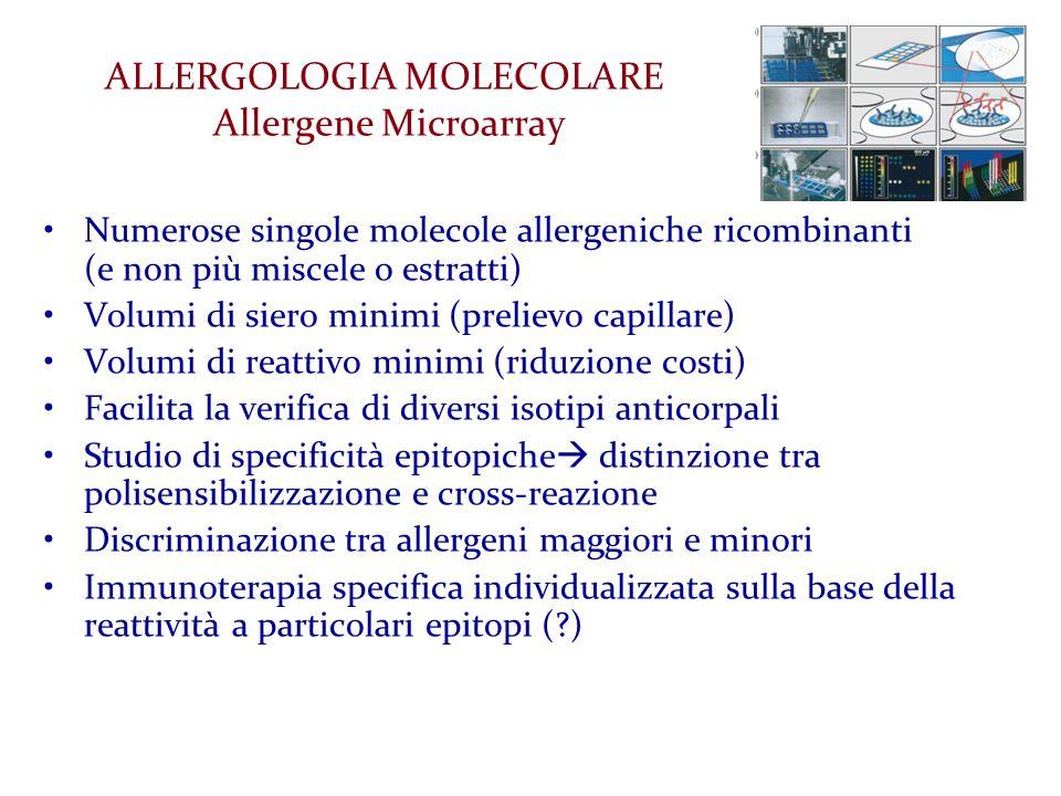 ALLERGOLOGIA MOLECOLARE Allergene Microarray Numerose singole molecole allergeniche ricombinanti (e non più miscele o estratti) Volumi di siero minimi