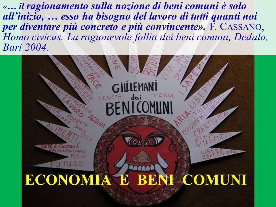 ECONOMIA E BENI COMUNI «… il ragionamento sulla nozione di beni comuni è solo all'inizio, … esso ha bisogno del lavoro di tutti quanti noi per diventare più concreto e più convincente».