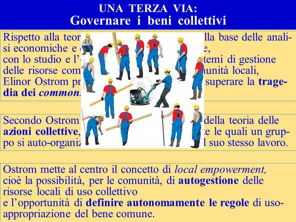 COME SCONGIURARE LA TRAGEDIA DEI BENI COMUNI 2009: il Nobel per l'economia all'americana Elinor Ostrom, per la sua ricerca sulle forme di regolazione dei beni comuni e sulla capacità di autogoverno delle società locali.