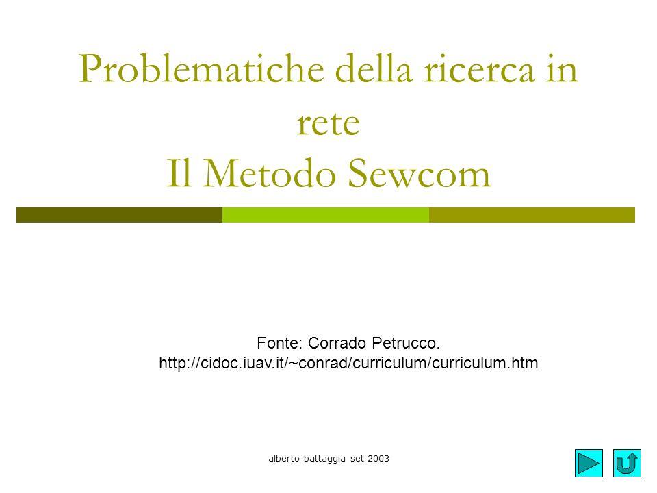 alberto battaggia set 2003 Problematiche della ricerca in rete Il Metodo Sewcom Fonte: Corrado Petrucco. http://cidoc.iuav.it/~conrad/curriculum/curri