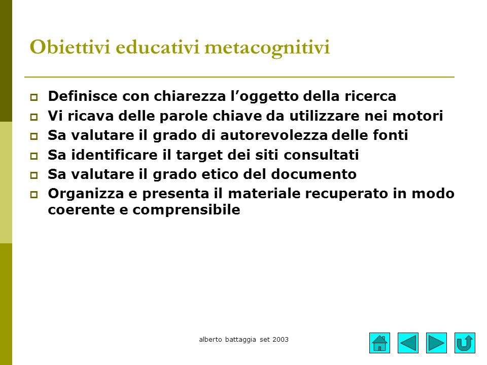 alberto battaggia set 2003 Obiettivi educativi metacognitivi  Definisce con chiarezza l'oggetto della ricerca  Vi ricava delle parole chiave da util