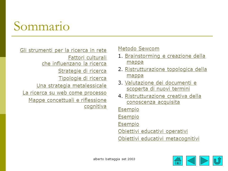alberto battaggia set 2003 Sommario Gli strumenti per la ricerca in rete Fattori culturali che influenzano la ricerca Strategie di ricerca Tipologie d