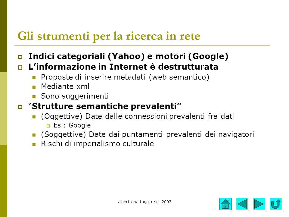 alberto battaggia set 2003 Gli strumenti per la ricerca in rete  Indici categoriali (Yahoo) e motori (Google)  L'informazione in Internet è destrutt