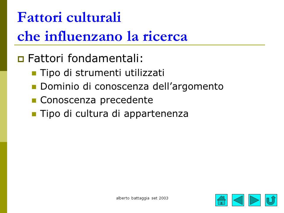 alberto battaggia set 2003 Fattori culturali che influenzano la ricerca  Fattori fondamentali: Tipo di strumenti utilizzati Dominio di conoscenza del
