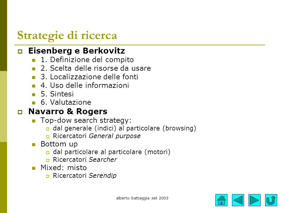alberto battaggia set 2003 Strategie di ricerca  Eisenberg e Berkovitz 1. Definizione del compito 2. Scelta delle risorse da usare 3. Localizzazione