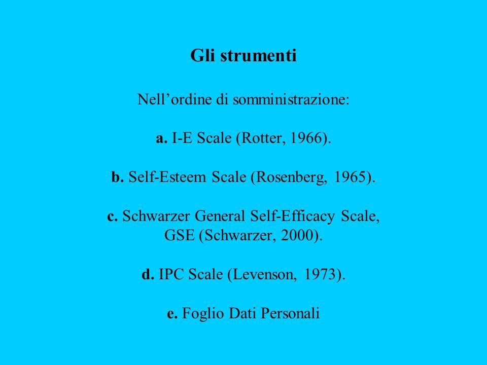 Gli strumenti Nell'ordine di somministrazione: a. I-E Scale (Rotter, 1966). b. Self-Esteem Scale (Rosenberg, 1965). c. Schwarzer General Self-Efficacy