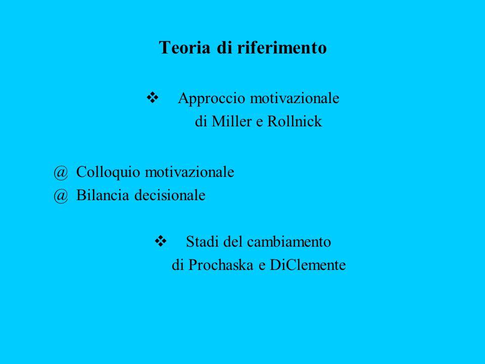 Teoria di riferimento  Approccio motivazionale di Miller e Rollnick @ Colloquio motivazionale @ Bilancia decisionale  Stadi del cambiamento di Proch