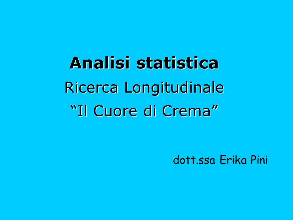 """Analisi statistica Ricerca Longitudinale """"Il Cuore di Crema"""" dott.ssa Erika Pini"""