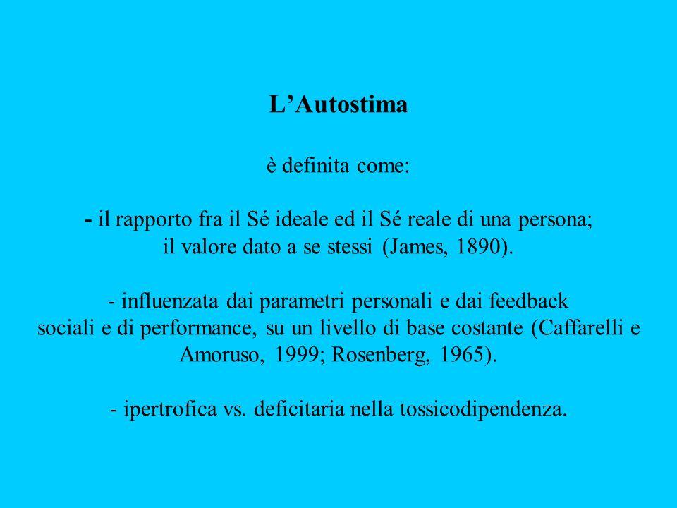 L'Autostima è definita come: - il rapporto fra il Sé ideale ed il Sé reale di una persona; il valore dato a se stessi (James, 1890). - influenzata dai