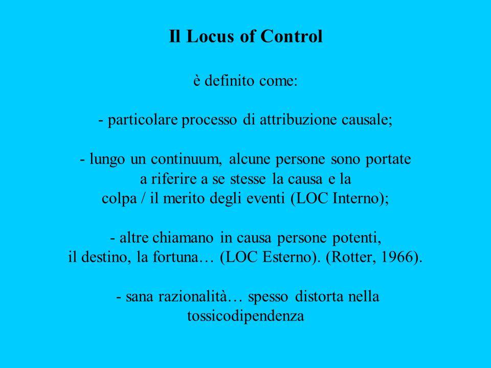 Il Locus of Control è definito come: - particolare processo di attribuzione causale; - lungo un continuum, alcune persone sono portate a riferire a se