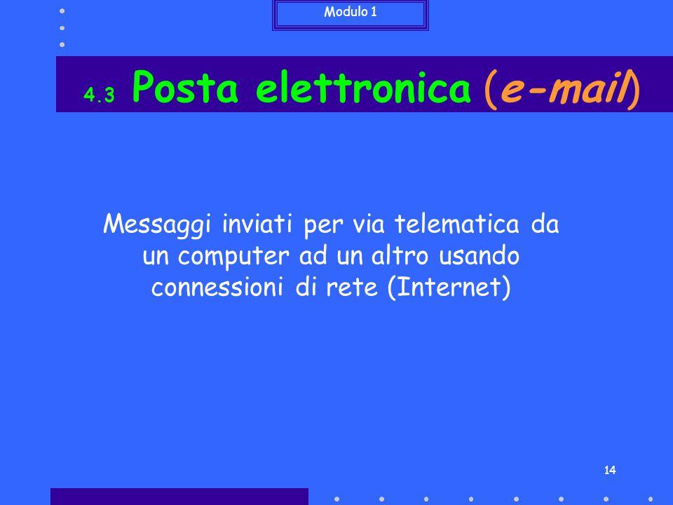 Modulo 1 14 4.3 Posta elettronica (e-mail) Messaggi inviati per via telematica da un computer ad un altro usando connessioni di rete (Internet)