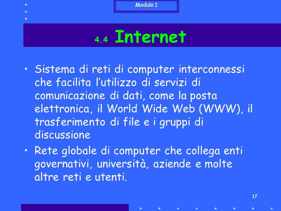 Modulo 1 17 4.4 Internet Sistema di reti di computer interconnessi che facilita l'utilizzo di servizi di comunicazione di dati, come la posta elettron