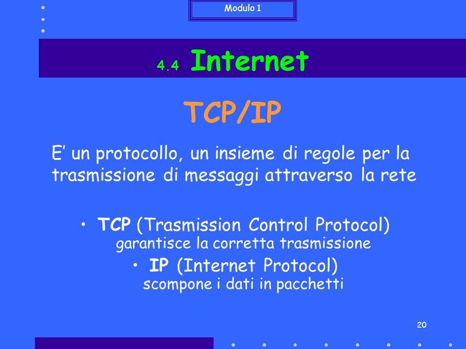 Modulo 1 20 TCP (Trasmission Control Protocol) garantisce la corretta trasmissione IP (Internet Protocol) scompone i dati in pacchetti E' un protocoll