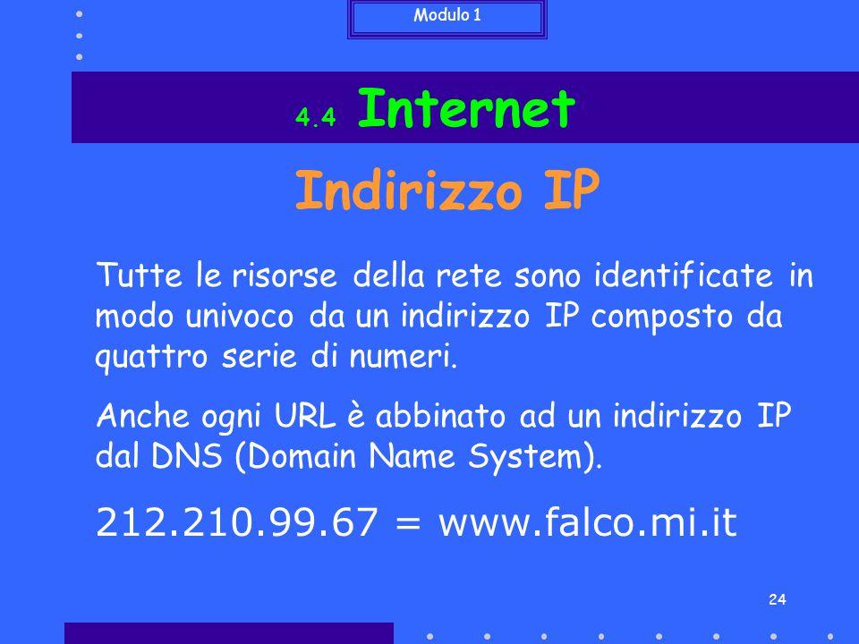 Modulo 1 24 Indirizzo IP Tutte le risorse della rete sono identificate in modo univoco da un indirizzo IP composto da quattro serie di numeri. Anche o