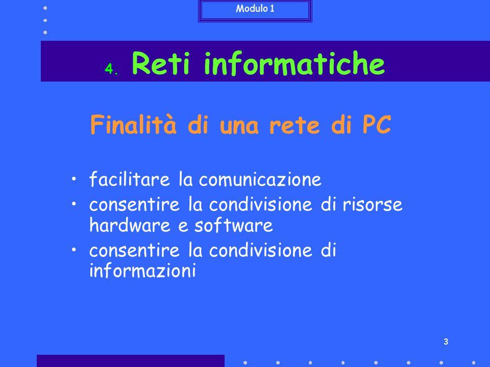 Modulo 1 3 Finalità di una rete di PC facilitare la comunicazione consentire la condivisione di risorse hardware e software consentire la condivisione