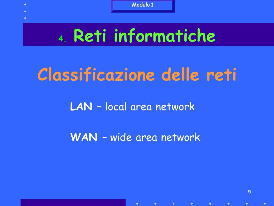 Modulo 1 5 Classificazione delle reti 4. Reti informatiche LAN – local area network WAN – wide area network