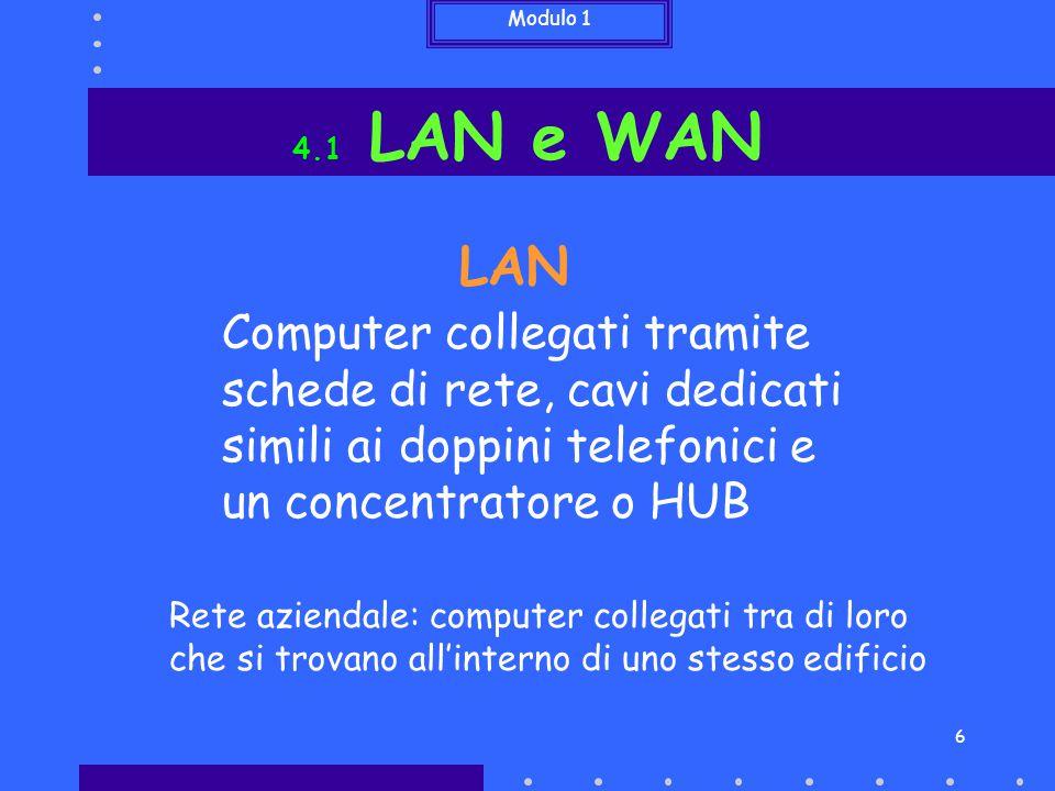 Modulo 1 7 4.1 LAN e WAN WAN Reti locali collegate tra loro tramite degli instradatori o ROUTER e una linea telefonica Rete di una banca: computer collegati tra di loro che si trovano in diverse filiali anche molto distanti