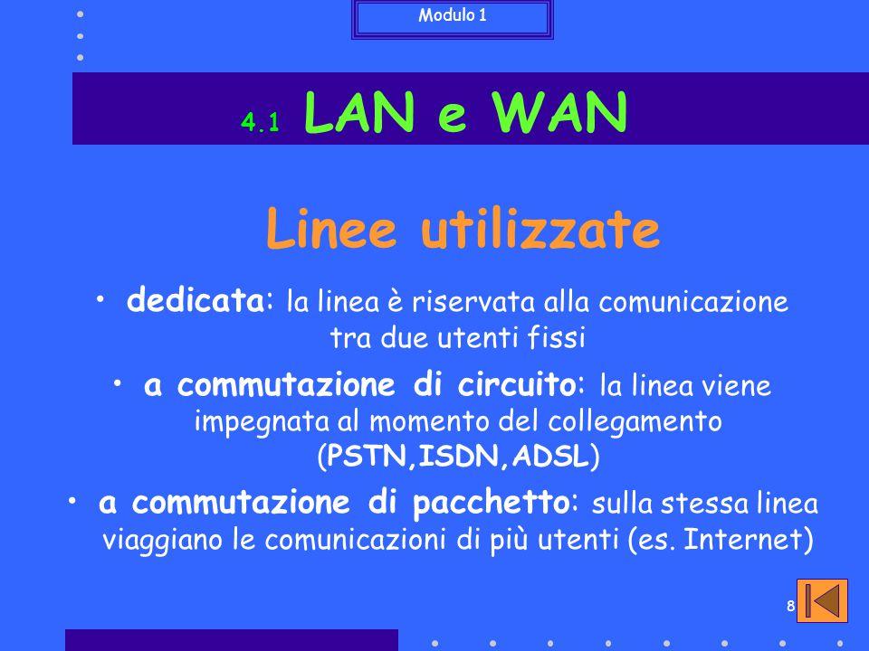 Modulo 1 8 Linee utilizzate dedicata: la linea è riservata alla comunicazione tra due utenti fissi a commutazione di circuito: la linea viene impegnat