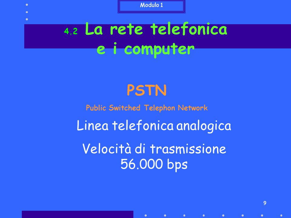 Modulo 1 9 4.2 La rete telefonica e i computer PSTN Public Switched Telephon Network Linea telefonica analogica Velocità di trasmissione 56.000 bps