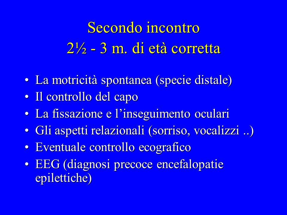 Secondo incontro 2½ - 3 m. di età corretta La motricità spontanea (specie distale)La motricità spontanea (specie distale) Il controllo del capoIl cont