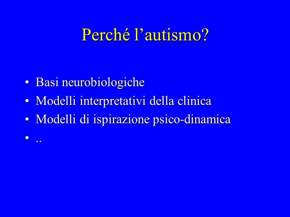 Perché l'autismo? Basi neurobiologicheBasi neurobiologiche Modelli interpretativi della clinicaModelli interpretativi della clinica Modelli di ispiraz