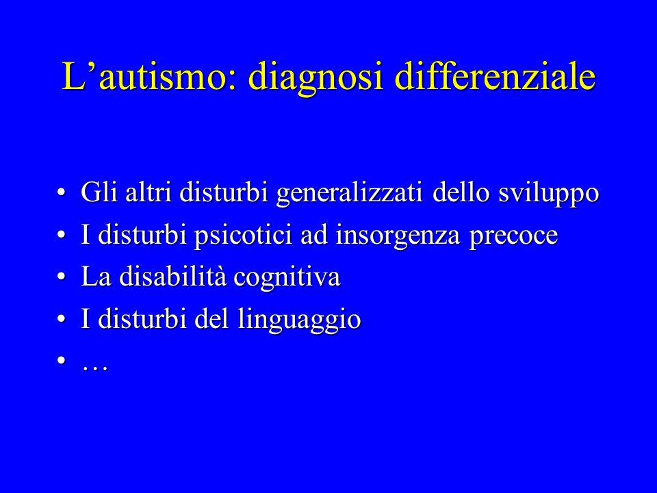 L'autismo: diagnosi differenziale Gli altri disturbi generalizzati dello sviluppoGli altri disturbi generalizzati dello sviluppo I disturbi psicotici