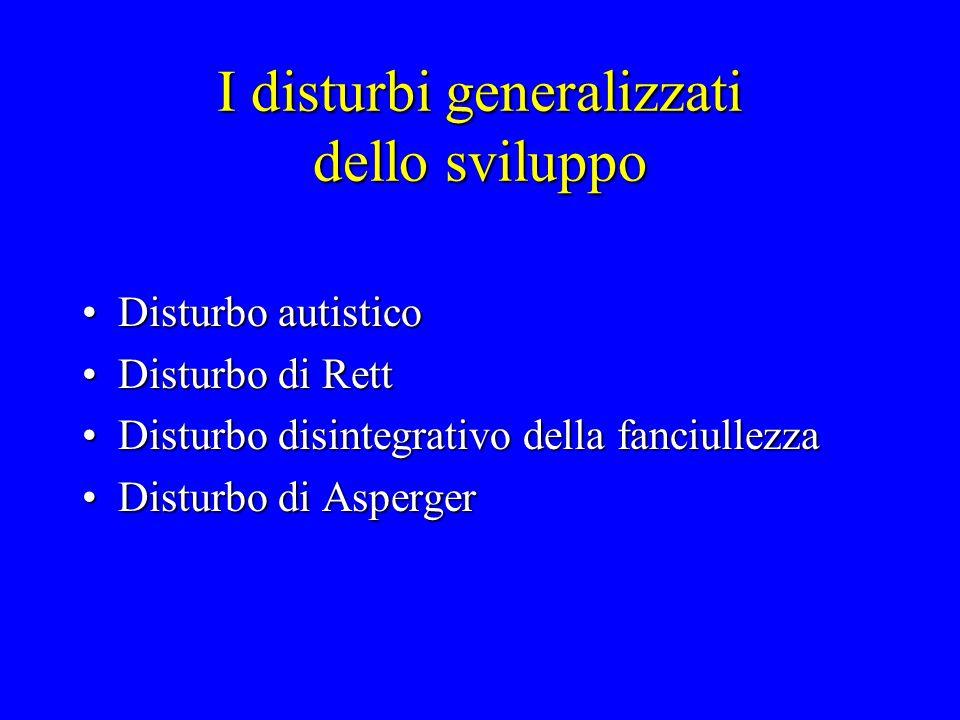I disturbi generalizzati dello sviluppo Disturbo autisticoDisturbo autistico Disturbo di RettDisturbo di Rett Disturbo disintegrativo della fanciullez