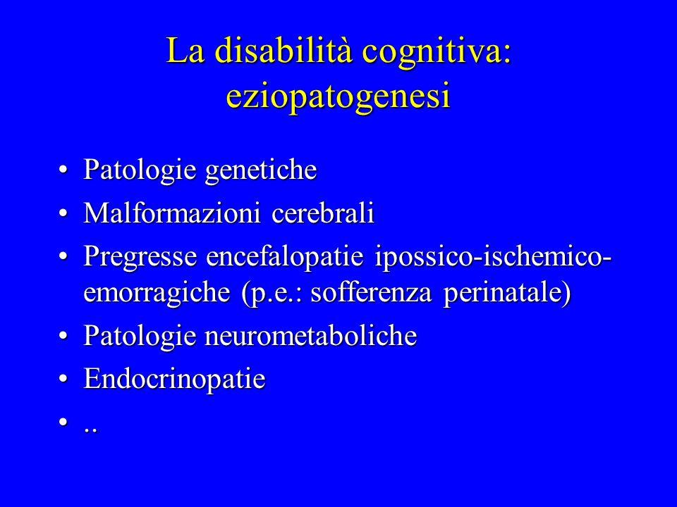 La disabilità cognitiva: eziopatogenesi Patologie genetichePatologie genetiche Malformazioni cerebraliMalformazioni cerebrali Pregresse encefalopatie