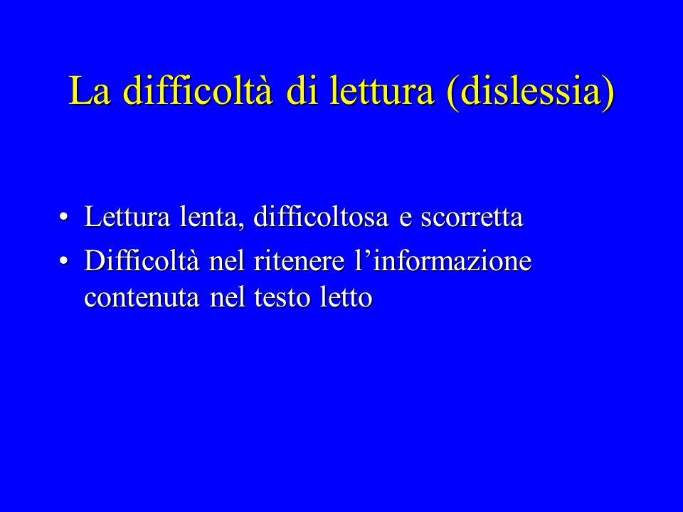 La difficoltà di lettura (dislessia) Lettura lenta, difficoltosa e scorrettaLettura lenta, difficoltosa e scorretta Difficoltà nel ritenere l'informaz