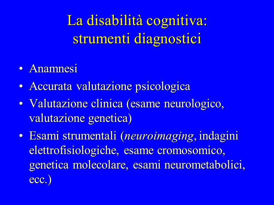 La disabilità cognitiva: strumenti diagnostici AnamnesiAnamnesi Accurata valutazione psicologicaAccurata valutazione psicologica Valutazione clinica (