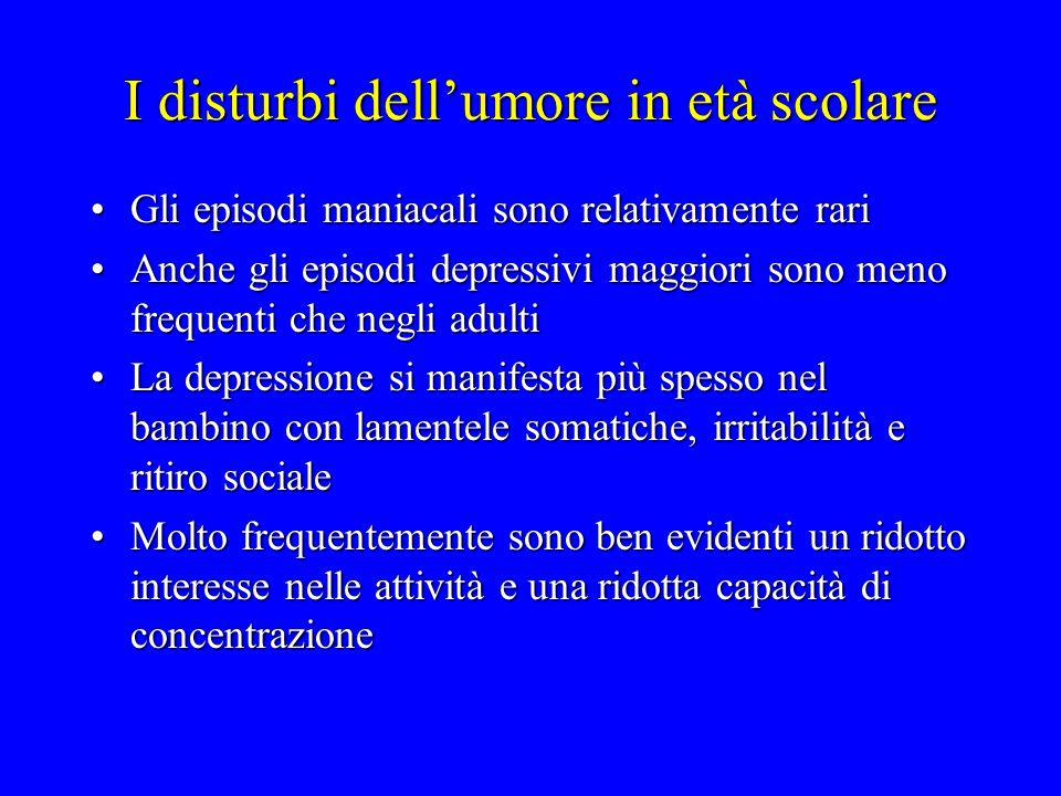 I disturbi dell'umore in età scolare Gli episodi maniacali sono relativamente rariGli episodi maniacali sono relativamente rari Anche gli episodi depr