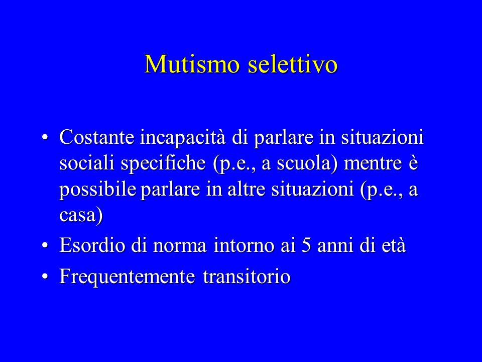 Mutismo selettivo Costante incapacità di parlare in situazioni sociali specifiche (p.e., a scuola) mentre è possibile parlare in altre situazioni (p.e