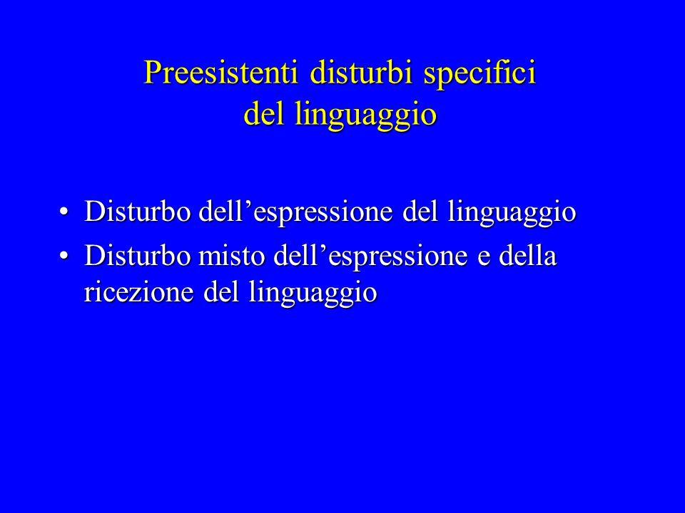 Preesistenti disturbi specifici del linguaggio Disturbo dell'espressione del linguaggioDisturbo dell'espressione del linguaggio Disturbo misto dell'es