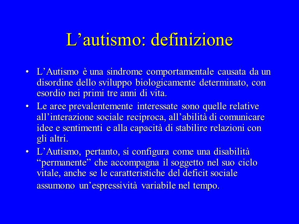 L'autismo: definizione L'Autismo è una sindrome comportamentale causata da un disordine dello sviluppo biologicamente determinato, con esordio nei pri