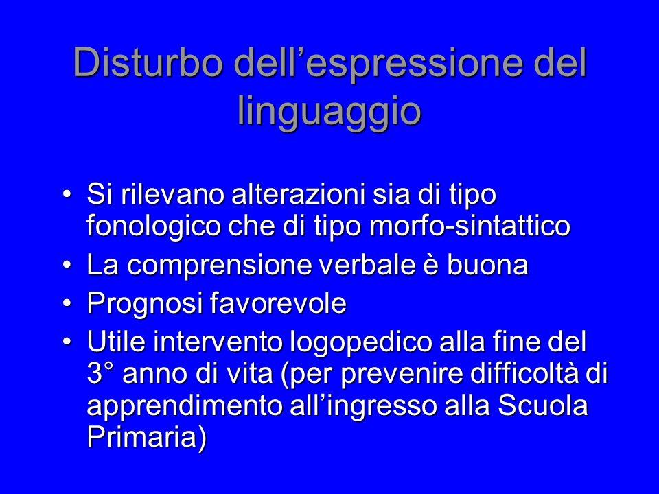Disturbo dell'espressione del linguaggio Si rilevano alterazioni sia di tipo fonologico che di tipo morfo-sintatticoSi rilevano alterazioni sia di tip