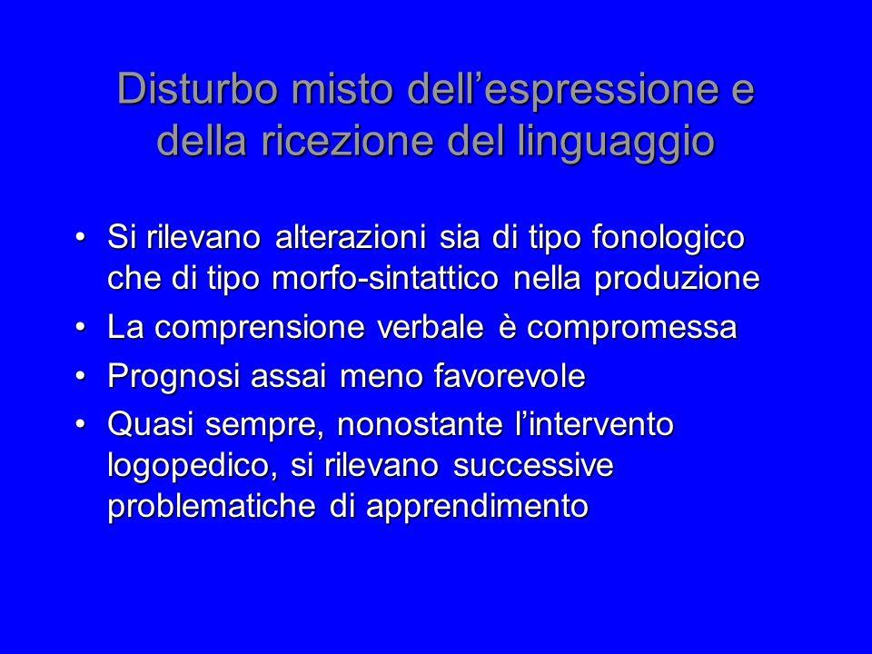 Disturbo misto dell'espressione e della ricezione del linguaggio Si rilevano alterazioni sia di tipo fonologico che di tipo morfo-sintattico nella pro
