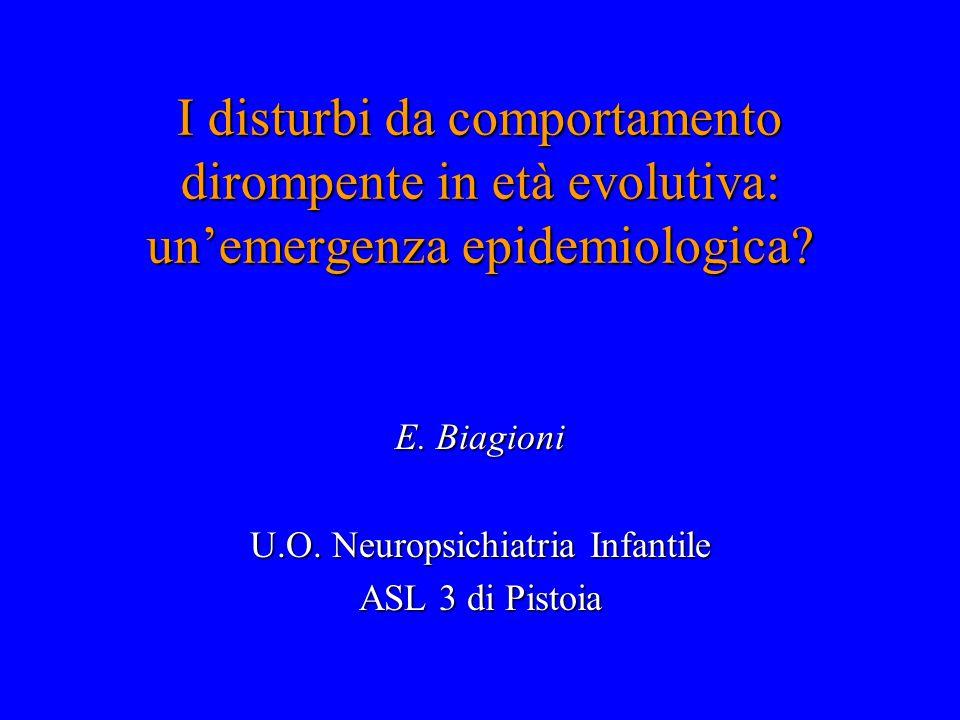 I disturbi da comportamento dirompente in età evolutiva: un'emergenza epidemiologica? E. Biagioni U.O. Neuropsichiatria Infantile ASL 3 di Pistoia