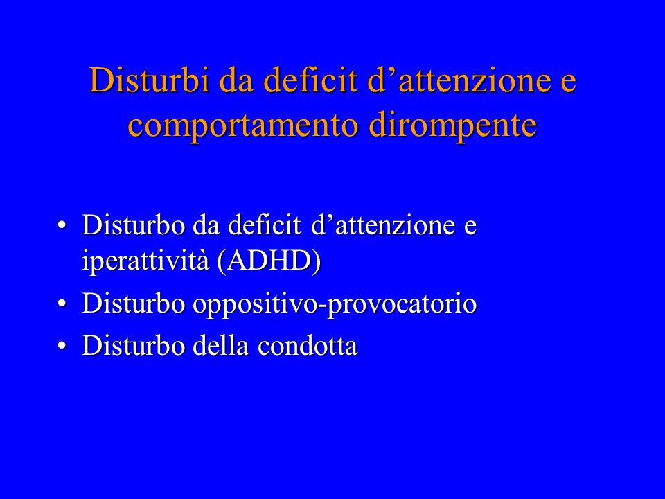 Disturbi da deficit d'attenzione e comportamento dirompente Disturbo da deficit d'attenzione e iperattività (ADHD)Disturbo da deficit d'attenzione e i