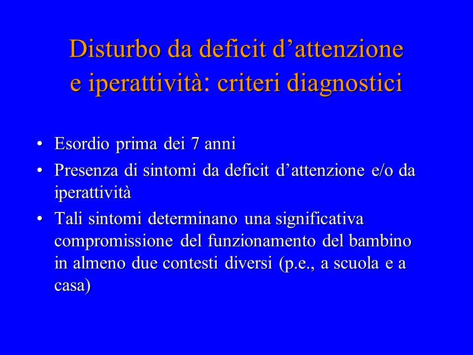 Disturbo da deficit d'attenzione e iperattivitàcriteri diagnostici Disturbo da deficit d'attenzione e iperattività : criteri diagnostici Esordio prima
