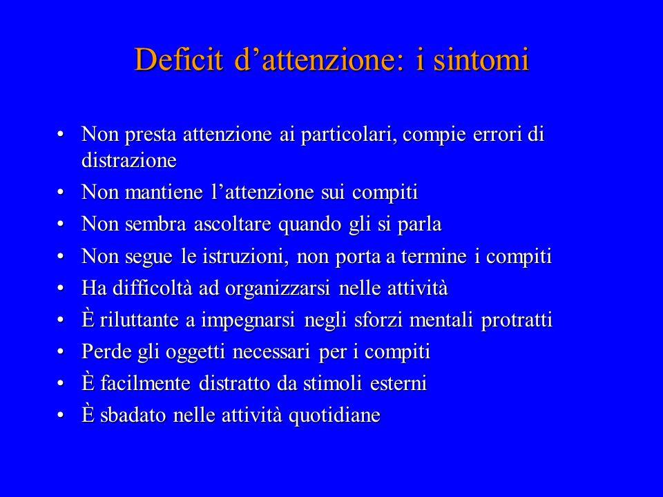 Deficit d'attenzione: i sintomi Non presta attenzione ai particolari, compie errori di distrazioneNon presta attenzione ai particolari, compie errori