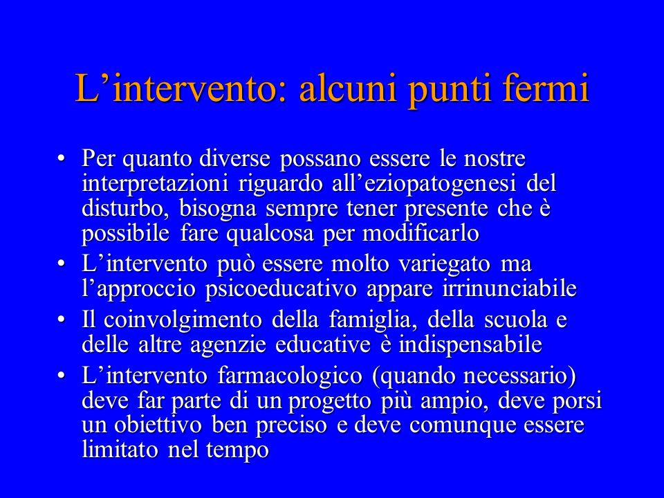L'intervento: alcuni punti fermi Per quanto diverse possano essere le nostre interpretazioni riguardo all'eziopatogenesi del disturbo, bisogna sempre