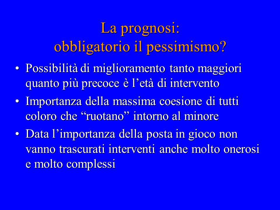 La prognosi: obbligatorio il pessimismo? Possibilità di miglioramento tanto maggiori quanto più precoce è l'età di interventoPossibilità di migliorame