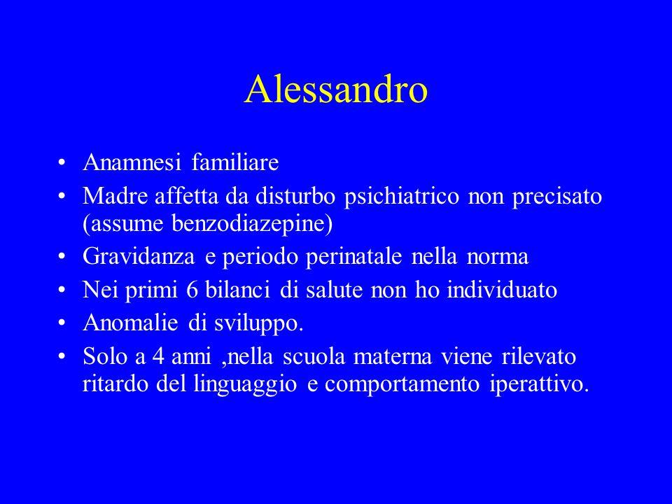 Alessandro Anamnesi familiare Madre affetta da disturbo psichiatrico non precisato (assume benzodiazepine) Gravidanza e periodo perinatale nella norma