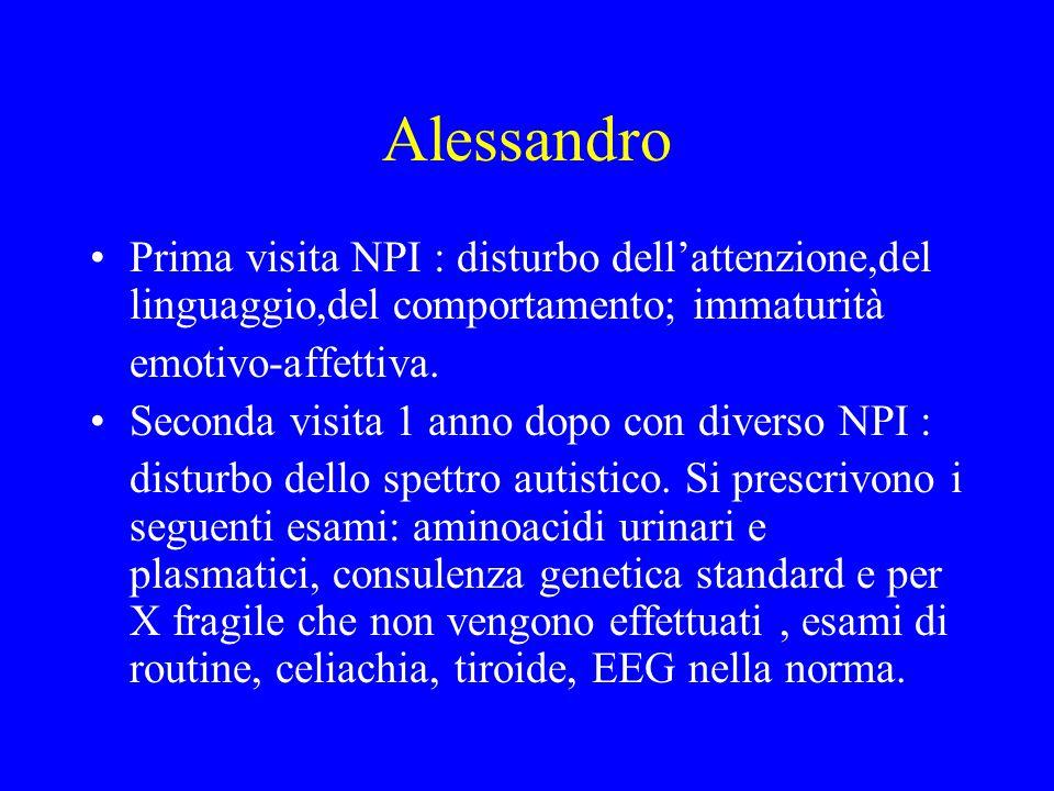 Alessandro Prima visita NPI : disturbo dell'attenzione,del linguaggio,del comportamento; immaturità emotivo-affettiva. Seconda visita 1 anno dopo con
