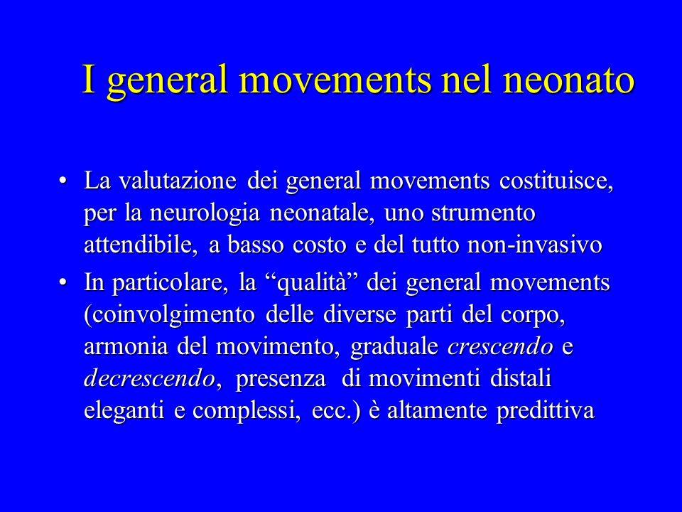 I general movements nel neonato La valutazione dei general movements costituisce, per la neurologia neonatale, uno strumento attendibile, a basso cost