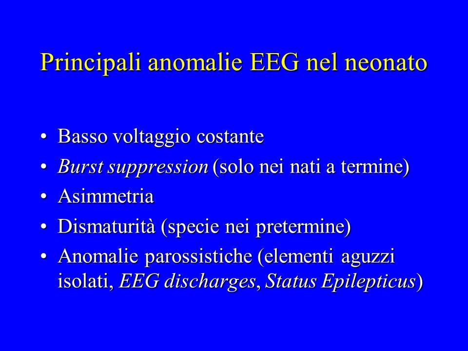 Principali anomalie EEG nel neonato Basso voltaggio costanteBasso voltaggio costante Burst suppression (solo nei nati a termine)Burst suppression (sol