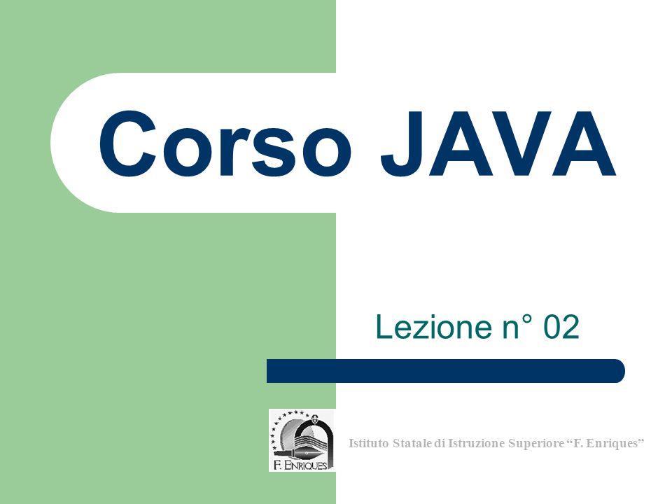 12 Inizio a somma = 0 somma = a + b b somma Fine Corso di Programmazione in Java – Lezione n° 02 Istituto Statale di Istruzione Superiore F.